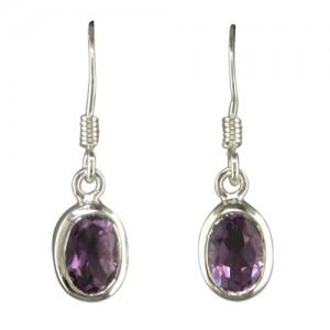 Sterling Silver Oval Amethyst Drop Earrings