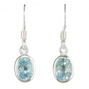 Sterling Silver Oval Blue Topaz Drop Earrings