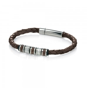 Fred Bennett Men's Stainless Steel Brown Leather Bracelet