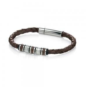 Fred Bennett Men's Stainless Steel Brown Leather Bracelet