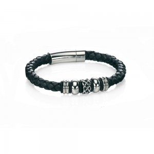 Fred Bennett Stainless Steel Black Leather Bracelet