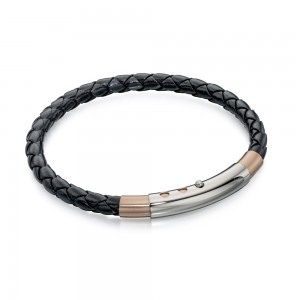 Fred Bennett Men's Stainless Steel Rose PVD Black Leather Bracelet