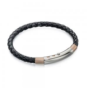 Fred Bennett Men's Stainless Steel Rose PVD Black Leather Bracelet