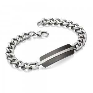 Fred Bennett Men's Stainless Steel & Black IP Bracelet
