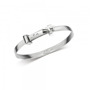 D for Diamond Silver Bangle - Front