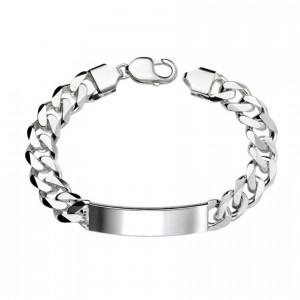 Sterling Silver Heavy ID Curb Bracelet