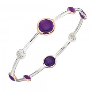 Sterling Silver & Rose Gold Plate Purple Agate & CZ Bangle