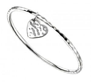 Sterling Silver Hammered Bangle with Hammered Heart Charm