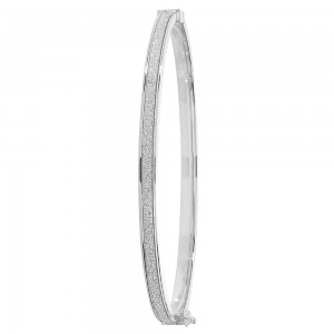9ct White Gold Sparkle Bangle