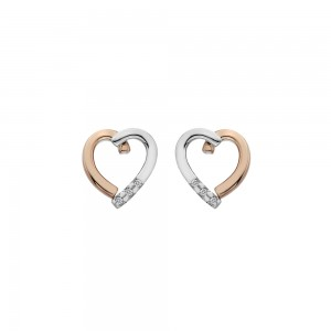 Hot Diamonds Glide Rose Plated Open Heart Earrings