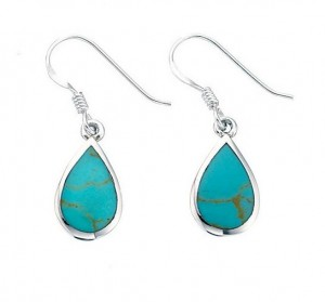 Sterling Silver Synthetic Turquoise Teardrop Drop Earrings
