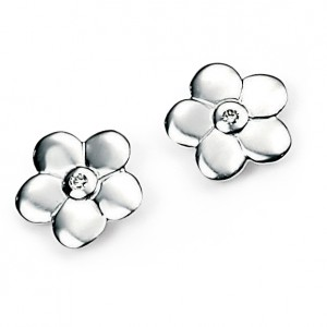 D for Diamond Silver Flower Stud Earrings