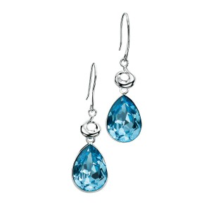 Sterling Silver Blue Swarovski Crystal Drop Earrings