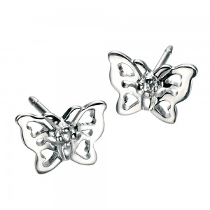 D for Diamond Silver Butterfly Stud Earrings
