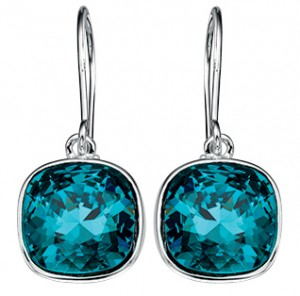 Sterling Silver Blue Swarovski Crystal Drop Earrings