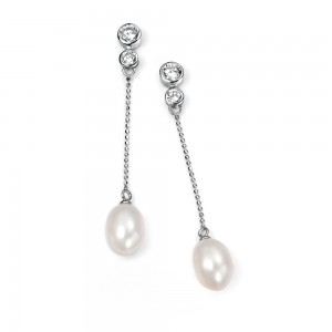 Sterling Silver Freshwater Pearl & Cubic Zirconia Drop Earrings