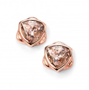 Sterling Silver Rose Plated Pink Swarovski Crystal Stud Earrings