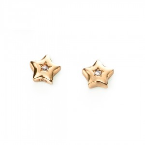 D for Diamond Silver Gold Plated Tiny Star Stud Earrings