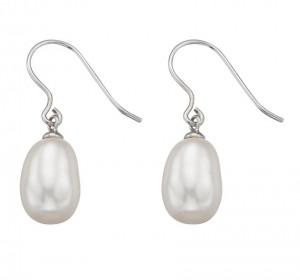 Sterling Silver Frehswater Pearl Hook Drop Earrings