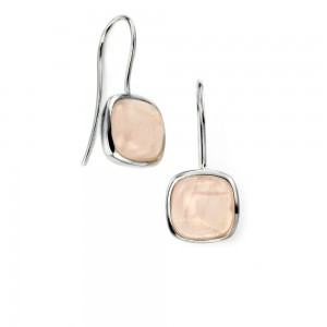 Sterling Silver Cabochon Rose Quartz Drop Earrings