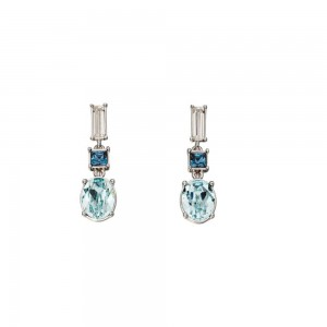 Sterling Silver Blue/White Swarovski Crystal Drop Earrings