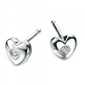 D for Diamond Silver Heart Stud Earrings