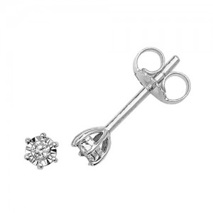 9ct White Gold Diamond Illusion Set Studs Earrings
