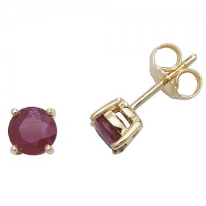 9ct Gold Round Ruby Claw-Set Stud Earrings
