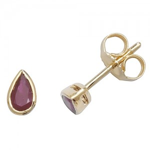 9ct Teardrop Ruby Stud Earrings