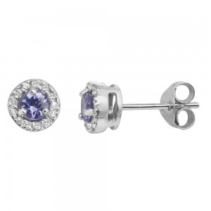 9ct White Gold Diamond and Tanzanite Stud Earrings