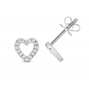 9ct White Gold Diamond Open Heart Stud Earrings