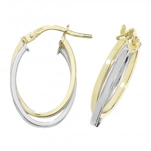 9ct 2 Colour Yellow / White Oval Double Hoop Earrings