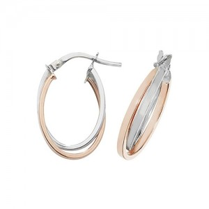 9ct 2 Colour White / Rose  Oval Double Hoop Earrings