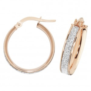 9ct Rose Gold Sparkle 15mm Hoop Earrings