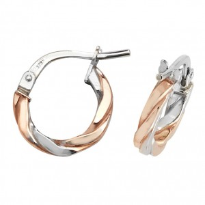 9ct 2 Colour Rose / White Gold 8mm Twist Hoop Earrings