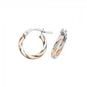 9ct 2 Colour Rose / White Gold 10mm Twist Hoop Earrings