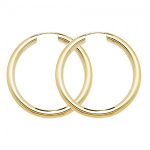 9ct Gold 25mm Sleeper Hoop Earrings