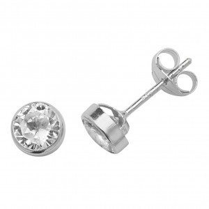 9ct White Gold Round Cubic Zirconia Stud Earrings
