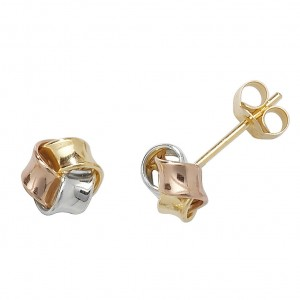 9ct Gold 3 Colour Small Knot Stud Earrings