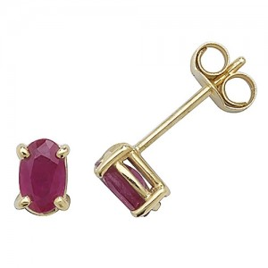 9ct Oval Ruby Stud Earrings