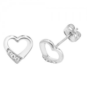 9ct White Gold Cubic Zirconia Open Heart Stud Earrings