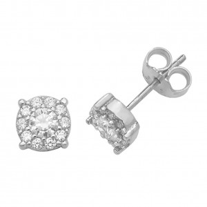 9ct White Gold Round Cubic Zirconia Cluster Stud Earrings