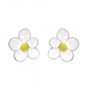 Sterling Silver Enamel Daisy Stud Earrings