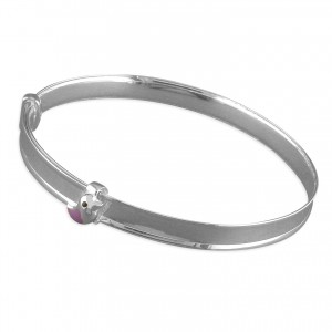 Sterling Silver Enamel Lilac Little Bird Expanding Bangle