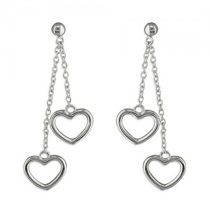 Sterling Silver Double Open Hearts on Chains Earrings