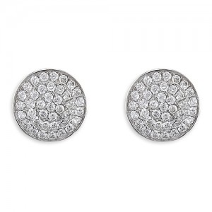 Sterling Silver Cubic Zirconia Disc Stud Earrings