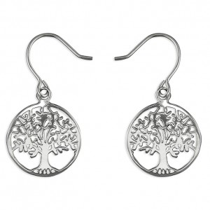 Sterling Silver Tree Of Life Hook Drop Earrings