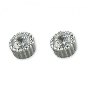 Sterling Silver Cubic Zirconia Millgrain Edge Stud Earrings