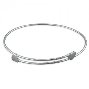 Sterling silver adjustable heart bangle
