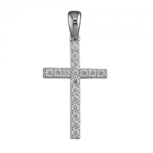 "Sterling Silver Cubic Zirconia Cross Pendant & 18"" Chain"